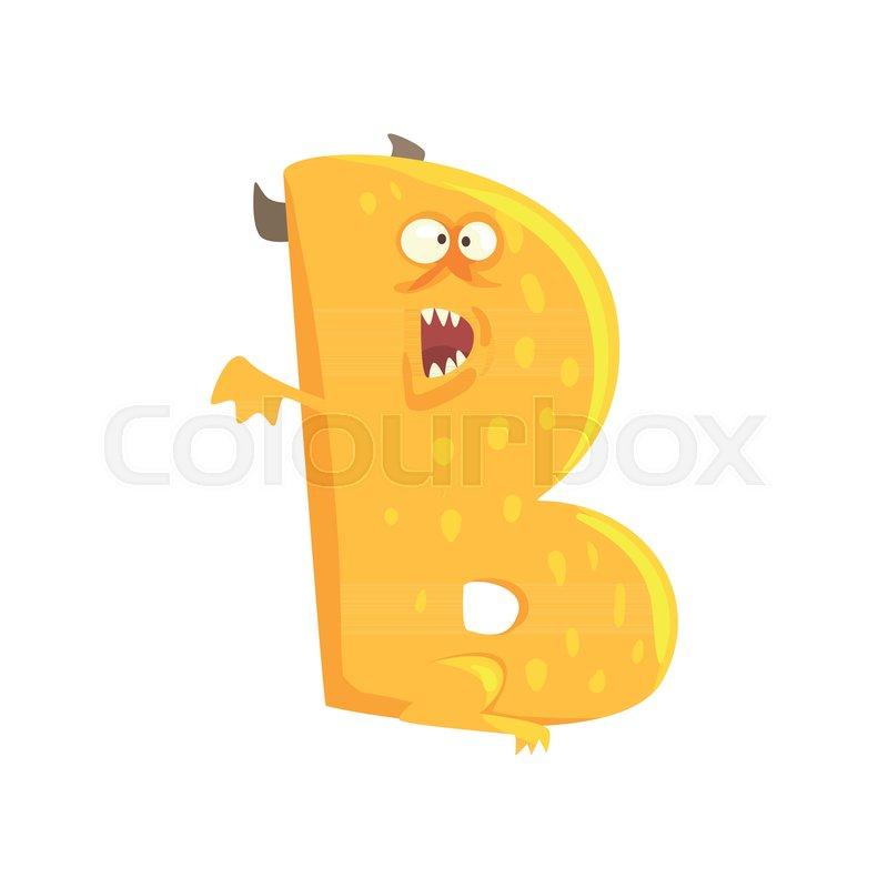 Illustration Of Character Monster Letter B With Horns And Wings Funny Education Strange Animal Font Orange Cartoon Alphabet For Kids Children S