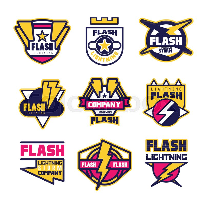 Flash Lightning Company Logo Design Template Elements And Symbols