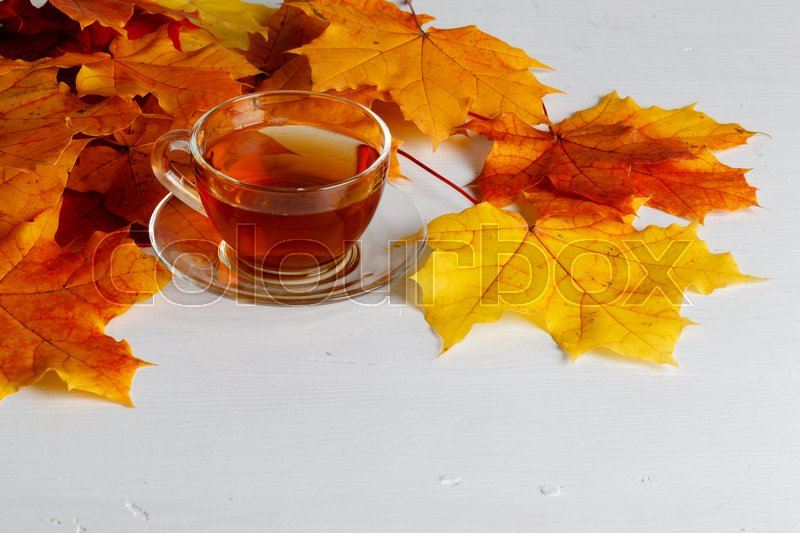 Autumn leaves, hot steaming cup of tea on wooden background, stock photo