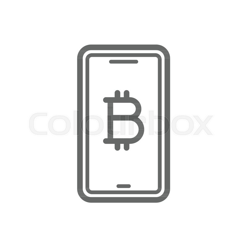 Bitcoin Online Symbol On The Smartphone Line Icon Cryptocurrency Trust And Security Concept Linear Vector Isolated White Transparent