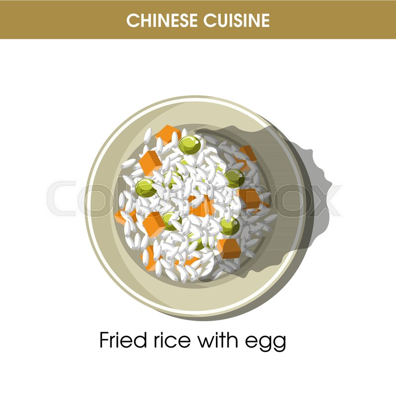 Chinese cuisine fried rice with eggs traditional garnish dish on ...