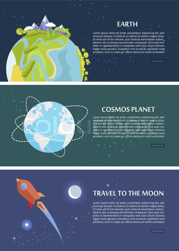 Earth cosmos planet travel to moon concept. Discovering new platents, start of life in space and saving Earth template vector poster withgreen trees and mountains, vector