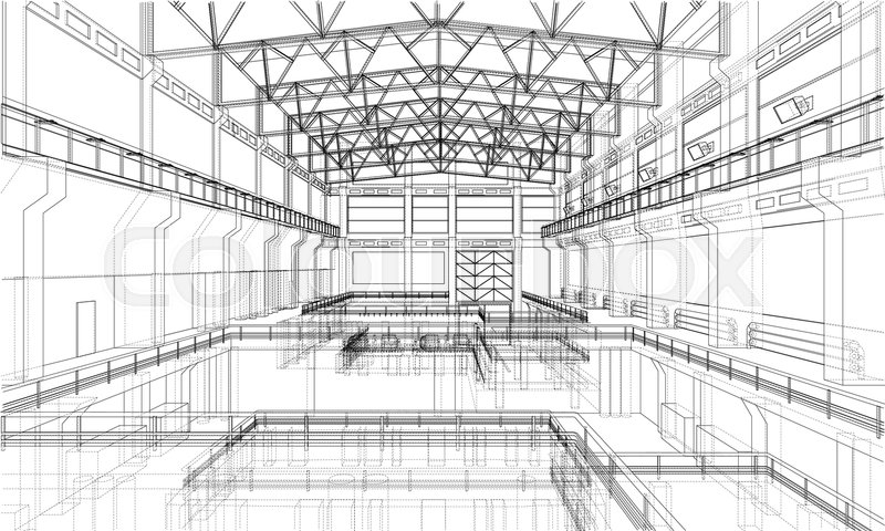 Warehouse sketch. Vector rendering of 3d. Wire-frame style. The ...