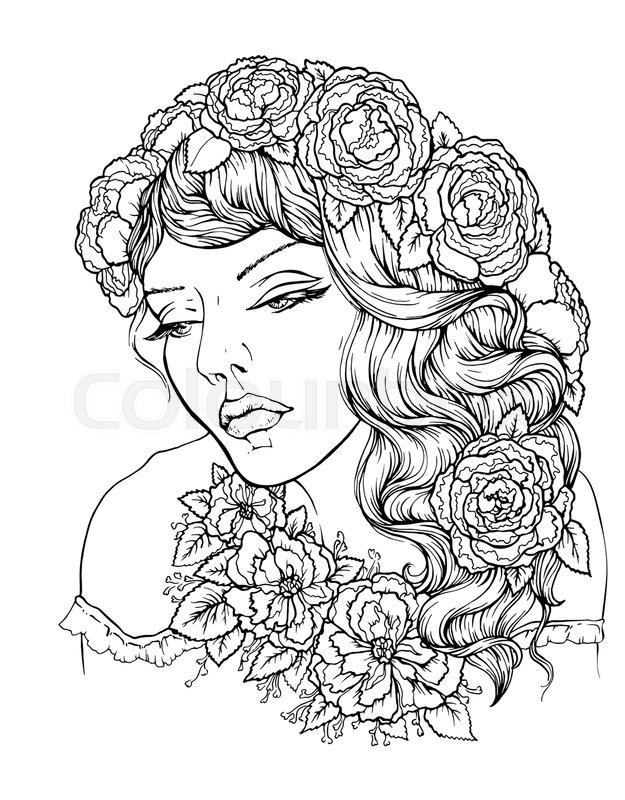 Pretty elegant boho girl with floral wreath. Hand drawn amazing ...