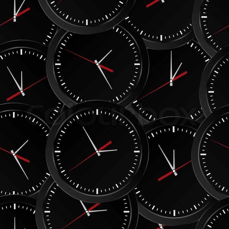 Vector Seamless Background With Black Wall Clocks Stock