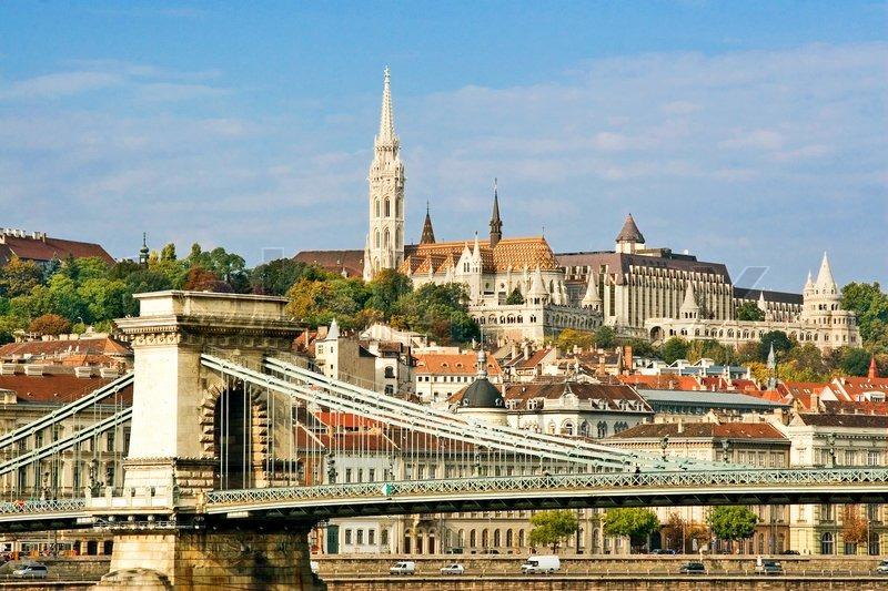 Hungarian Landmark Budapest Chain Bridge Stock Photo