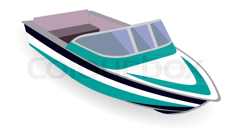 Cartoon Outboard Motors : Cartoon motor boat isolated on white vector illustration