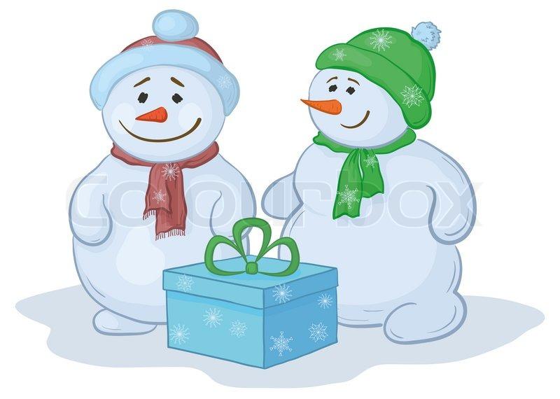 Christmas cartoon snowmens children with gift box stock