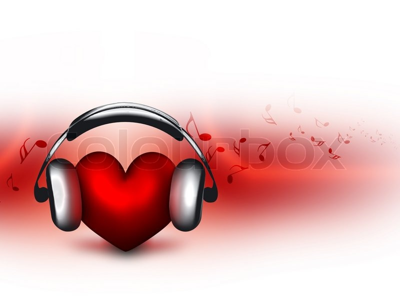 Heart with headphones - the concept of a music lover | Stock Photo ...