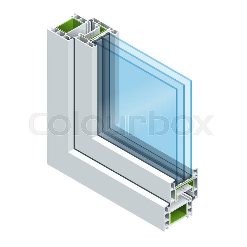Isometric Cross Section Diagram Of A Triple Glazed Window Pane PVC Profile Laminated Wood Grain Classic White Flat Illustration