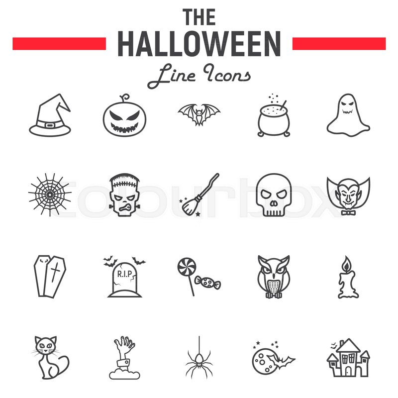 halloween line icon set  scary symbols collection  horror