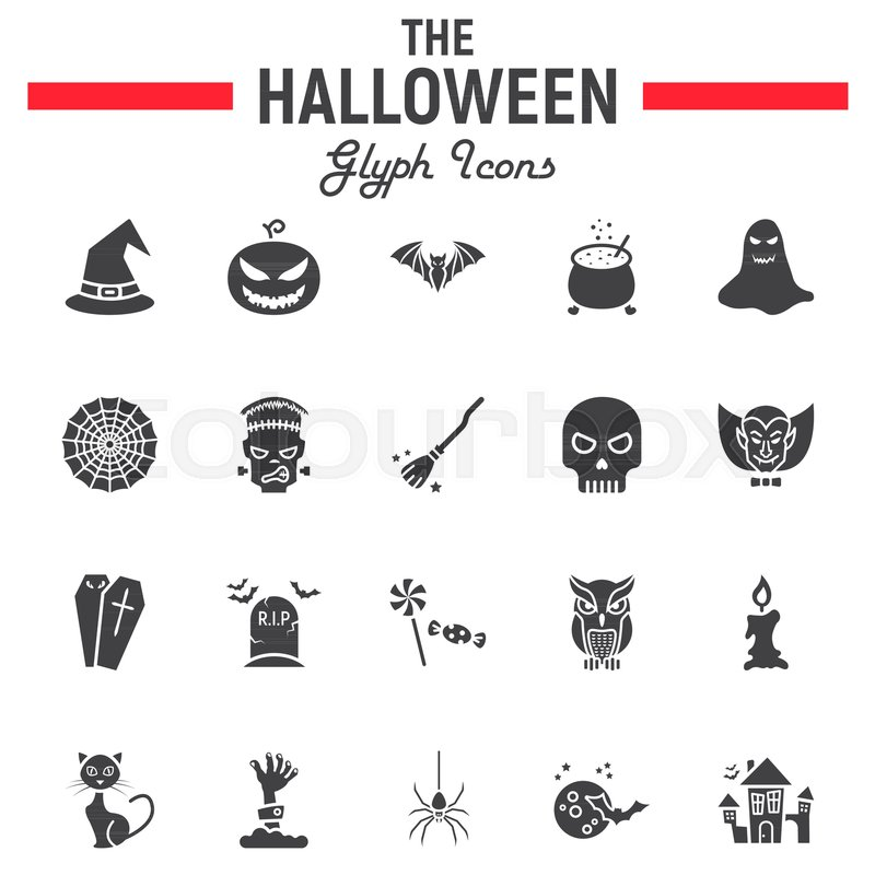 Halloween Glyph Icon Set Scary Symbols Collection Horror Holiday