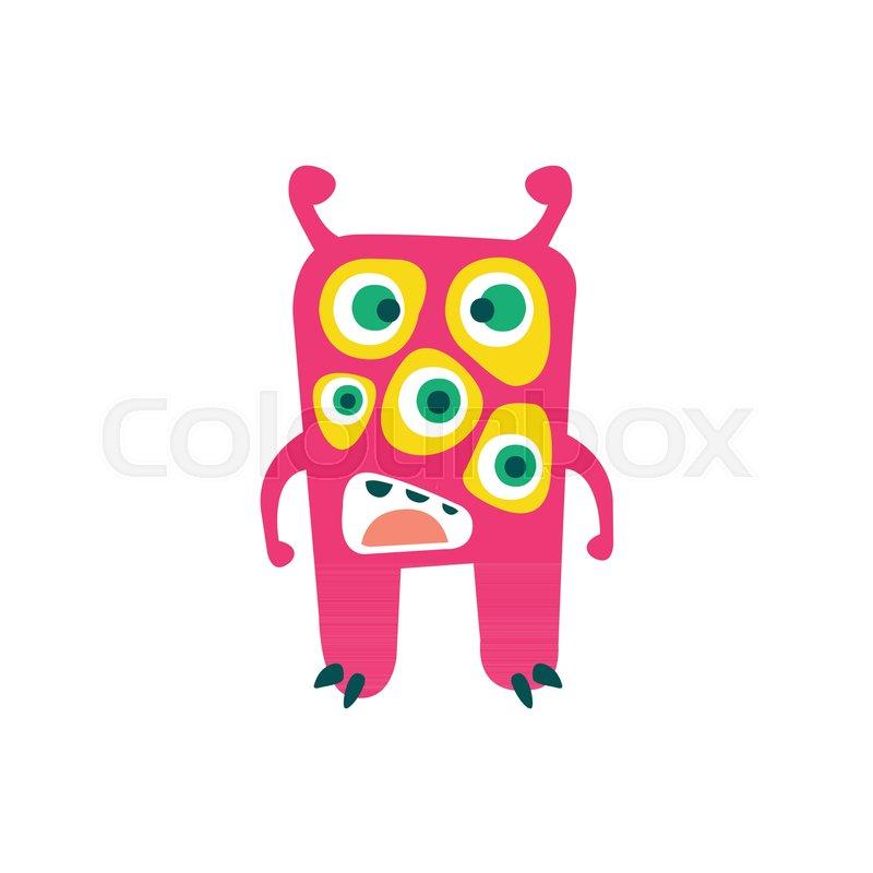 Cute Pink Cartoon Monster Fabulous Incredible Creature Funny Alien Vector Illustration