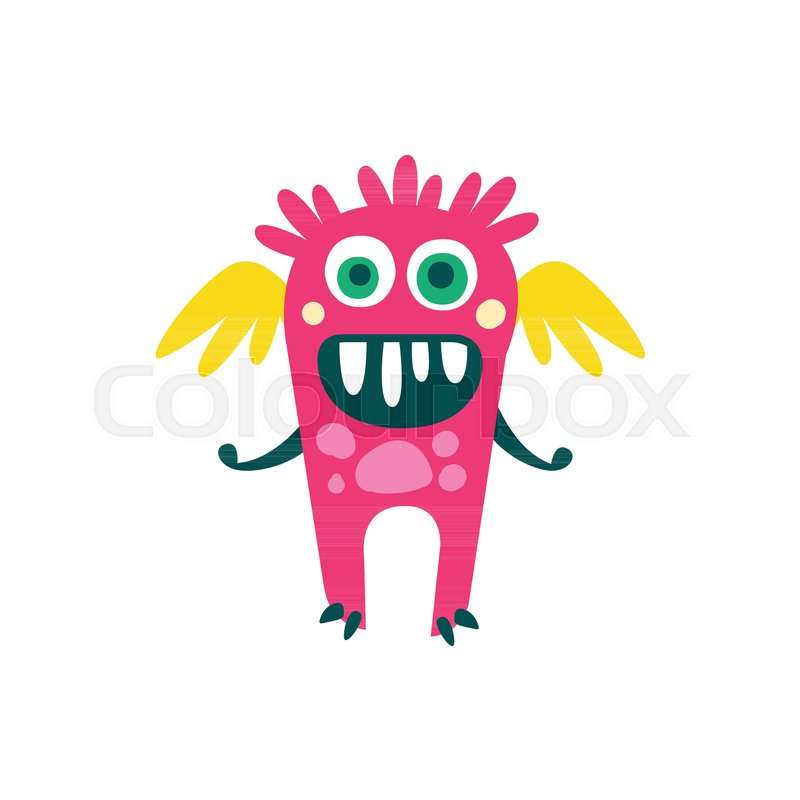 Cute Pink Cartoon Monster With Wings Fabulous Incredible Creature Funny Alien Vector Illustration