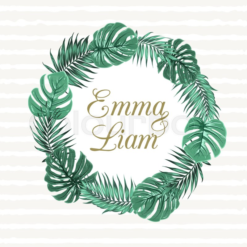Tropical jungle palm tree monstera leaves round wreath object on text placeholder in the middle wedding marriage event invitation template vector design illustration stock vector colourbox stopboris Choice Image