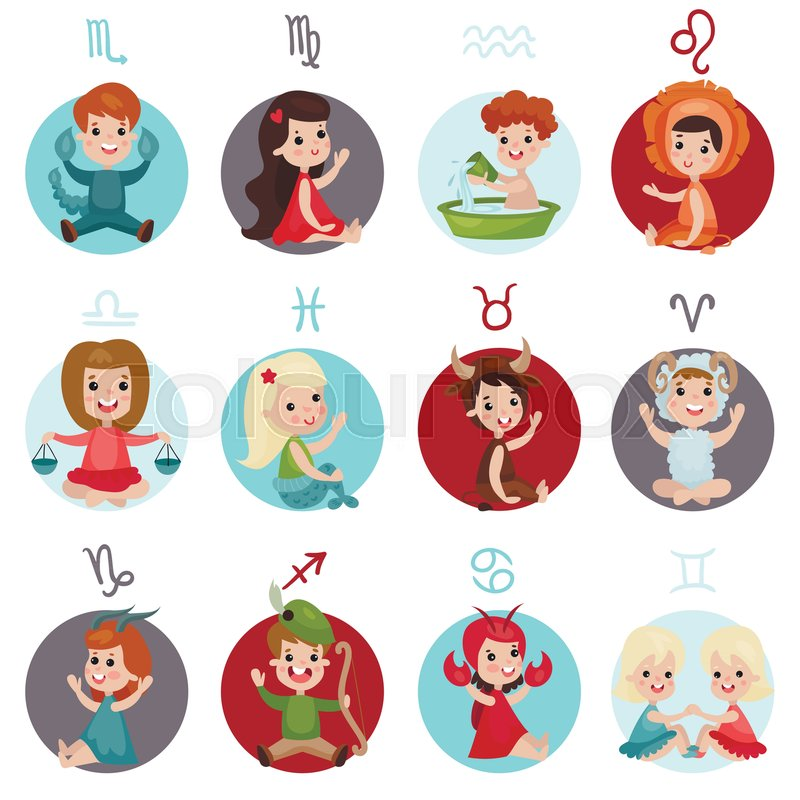 Adorable Little Kids Wearing Zodiac Signs Costumes Set Twelve Cute