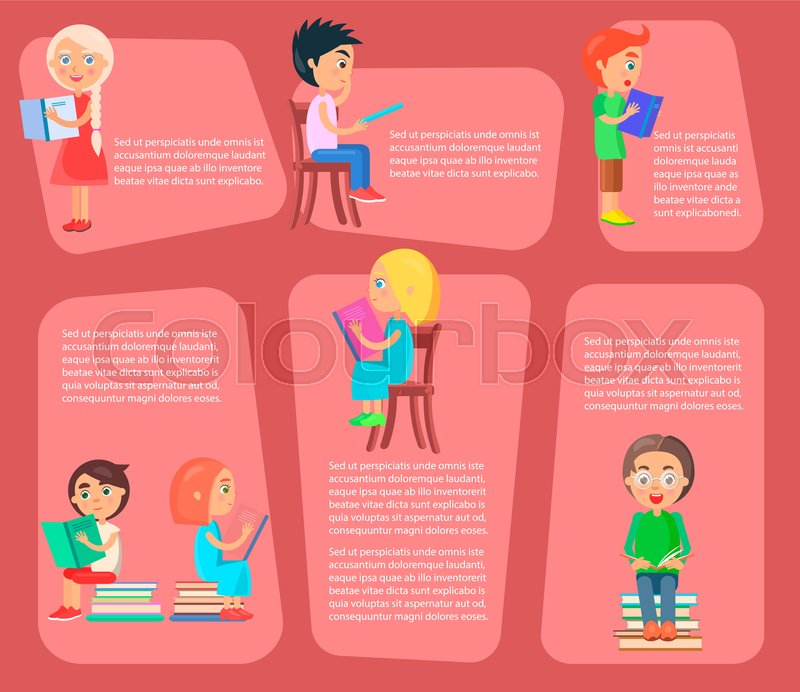 children sit on chair or pile of textbooks or stand and read books vector illustrations set with text on pink shapes as background