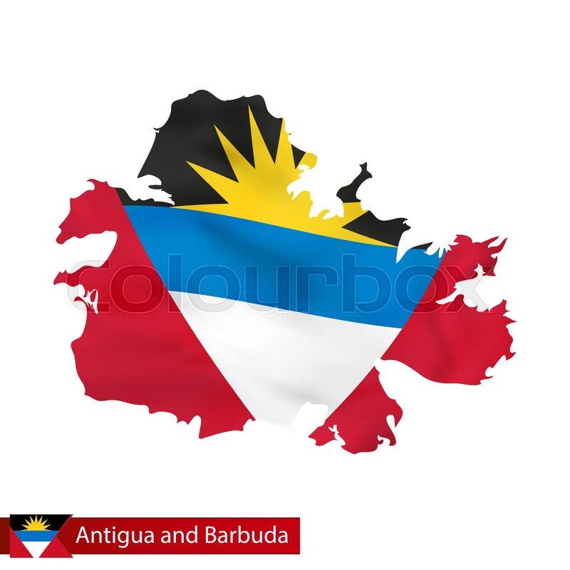 Antigua and Barbuda map with waving ... | Stock vector ...