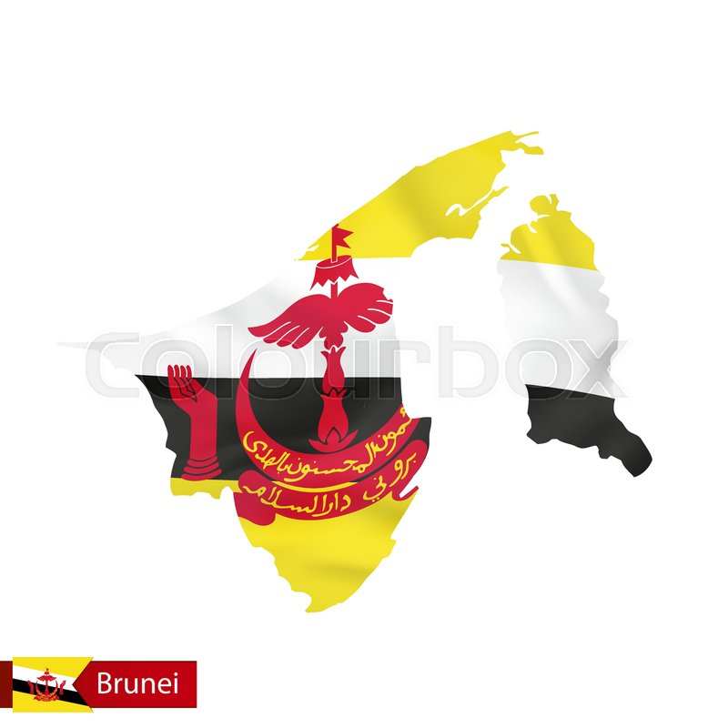 Brunei Map With Waving Flag Of Country Vector Illustration Stock