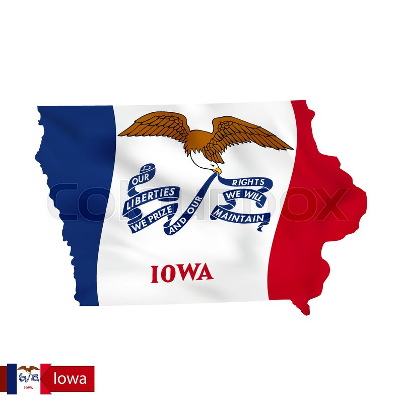 Iowa state map with waving flag of US ... | Stock vector ...
