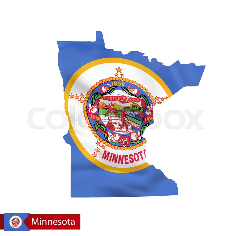 Minnesota State Map With Waving Flag Of Us State Vector