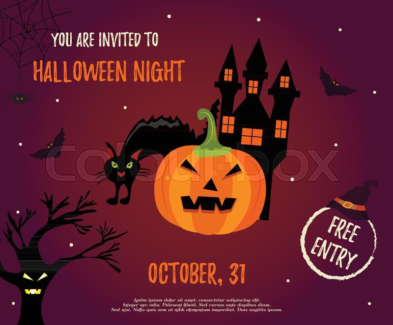 Halloween Night Background With Creepy House Cat Trees And Pumpkin Invitation Template
