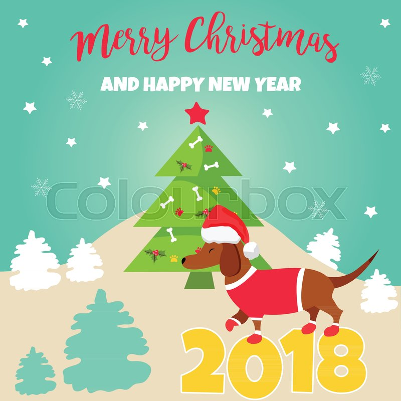 holiday dachshund and winter scene perfect for the year of the dog 2018 new year and christmas background stock vector colourbox - The Year Of The Perfect Christmas Tree