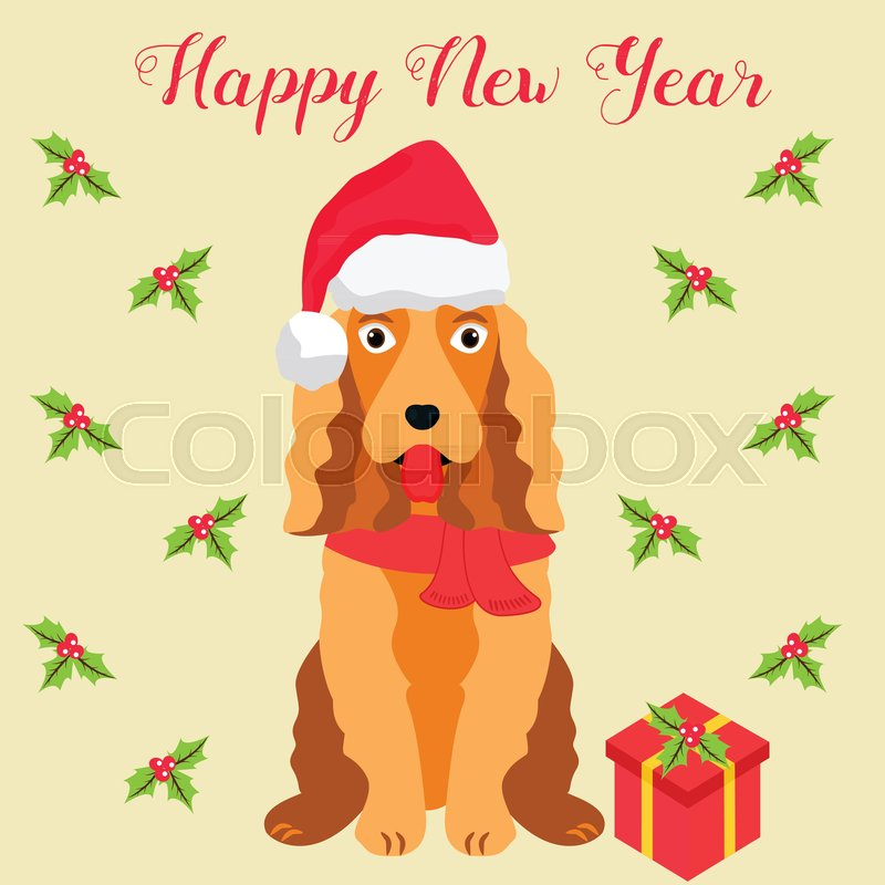 funny cartoon spaniel christmas and new year background perfect for the year of dog 2018 stock vector colourbox