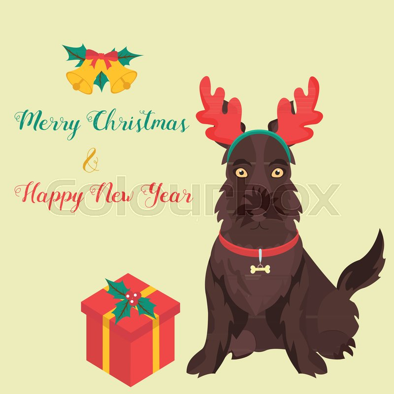 funny cartoon sotch terrier christmas and new year background perfect for the year of the dog 2018 stock vector colourbox