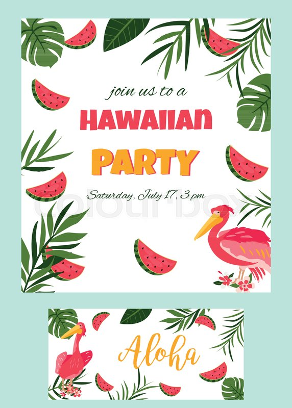 Tropical hawaiian poster with pelican party template invitation stock vector of tropical hawaiian poster with pelican party template invitation banner stopboris Choice Image