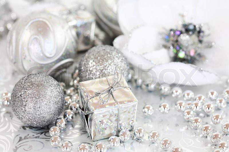 christmas ornaments in silver and white tone stock photo colourbox - Silver Christmas Decorations