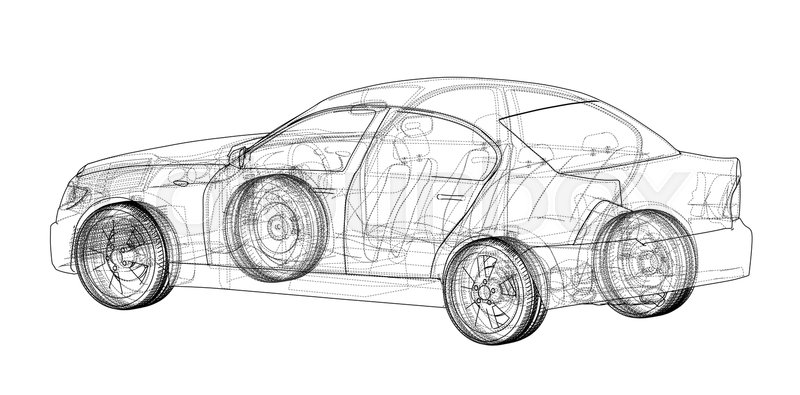 Concept car. Vector rendering of 3d. Wire-frame style. The layers of ...