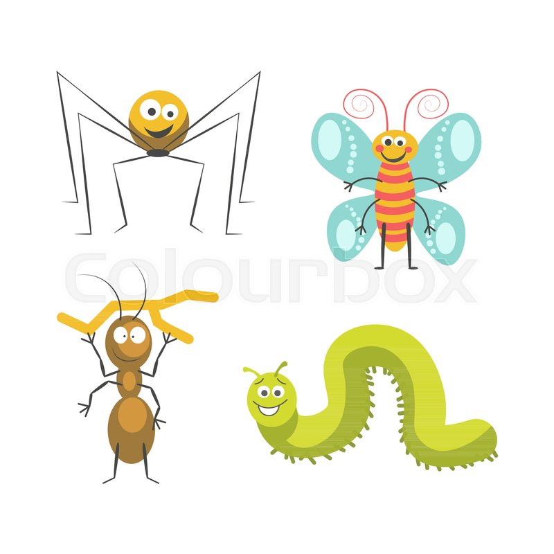 Funny Insects With Cute Friendly Faces Isolated Cartoon Vector Illustrations Set On White Background Cheerful Spider Butterfly Blue Wings