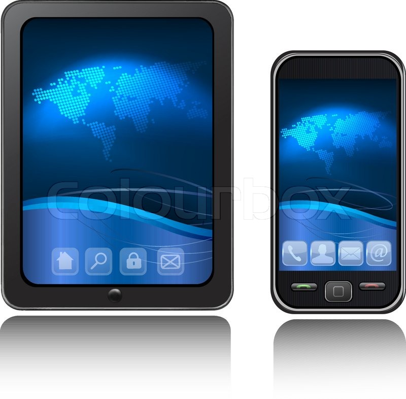ein tablet computer und handy mit blauem hintergrund und symbole stock vektor colourbox. Black Bedroom Furniture Sets. Home Design Ideas