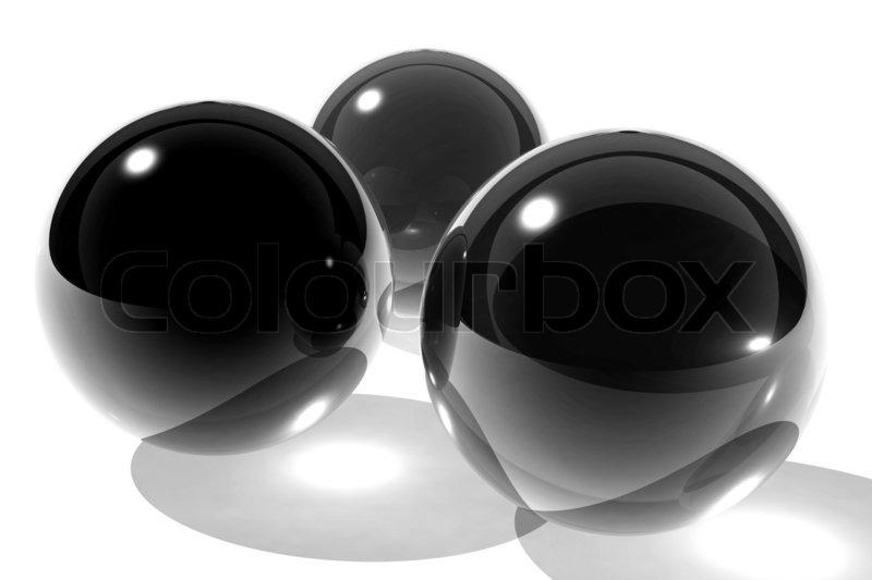 three black glass spheres stock photo colourbox - Black Glass