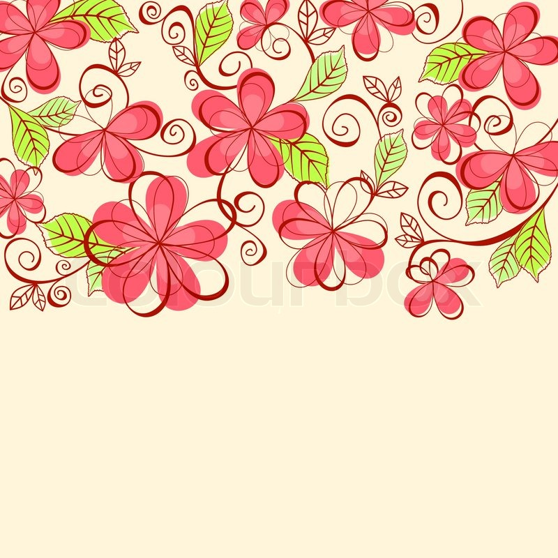 Beautiful pink flowers in the garden stock photography image - Floral Background For Textile Or Invitation Card Design