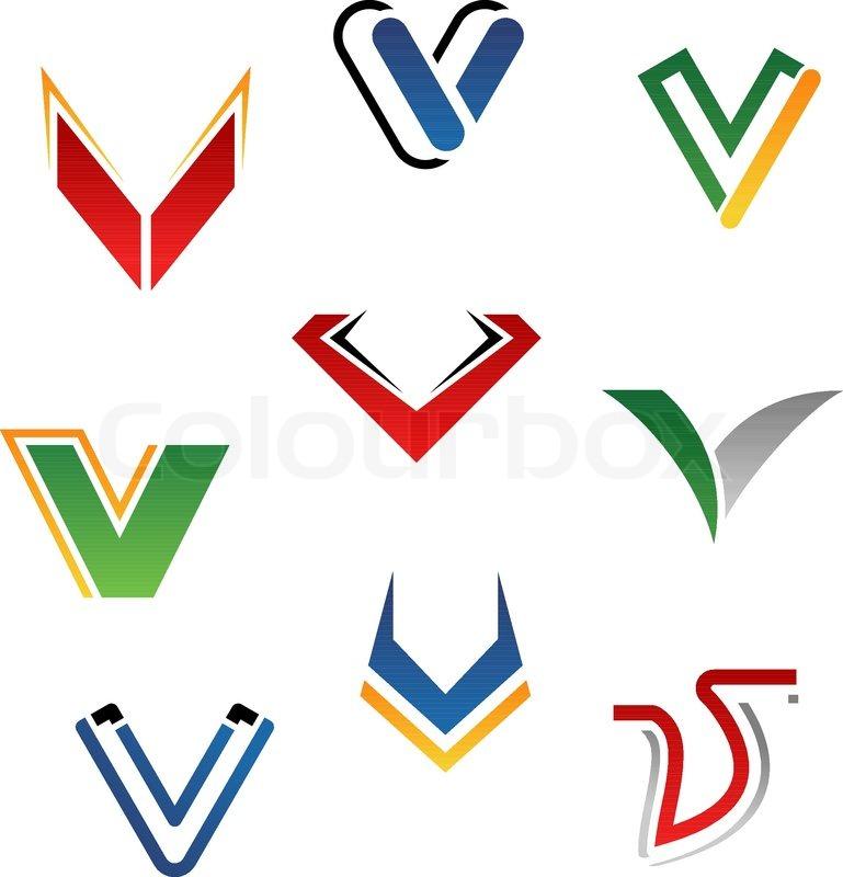 Set Of Alphabet Symbols And Elements Of Letter V Stock Vector