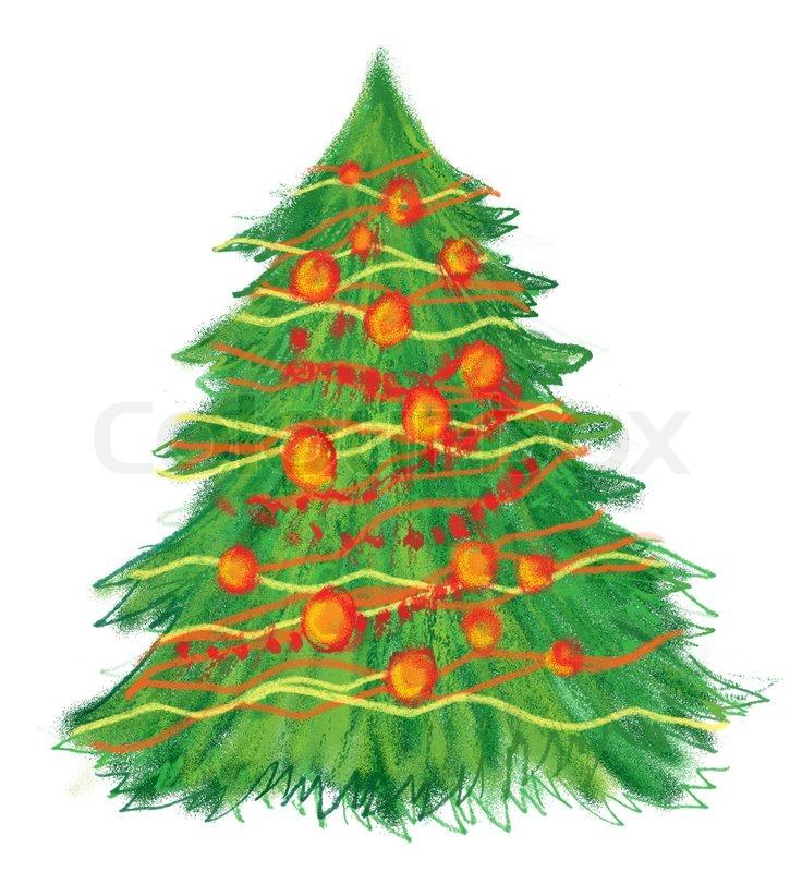 hand gezeichnet weihnachtsbaum auf wei em hintergrund. Black Bedroom Furniture Sets. Home Design Ideas