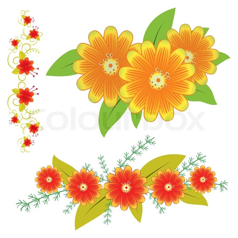 A Collection Of Flowers For The Design Stock Vector Colourbox