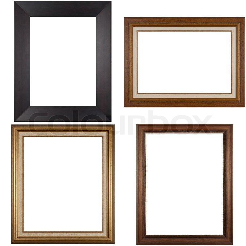 Vier antike Bilderrahmen isoliert auf weißem Hintergrund   Stockfoto ...