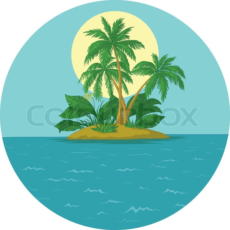 tropical sea island with palm trees and sun  vector