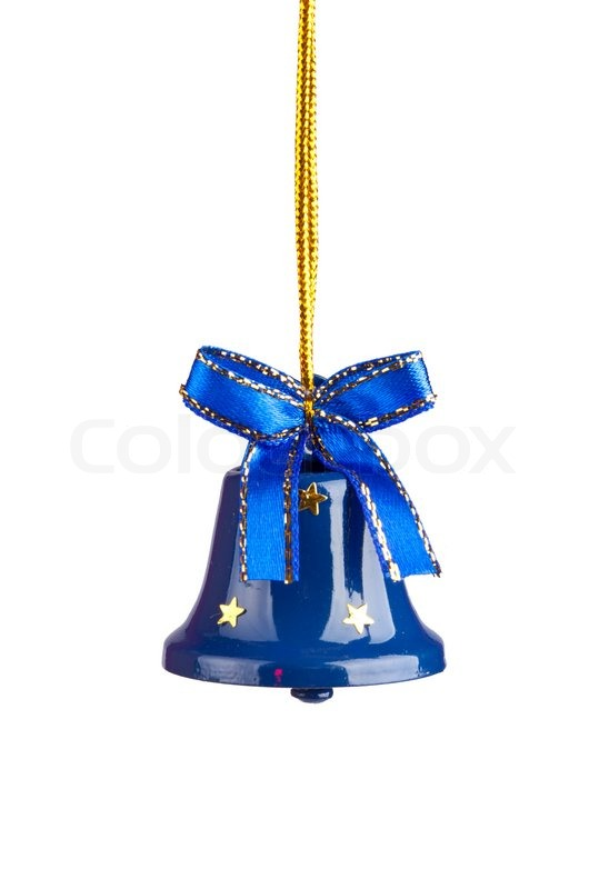 Blue christmas bells isolated on white stock photo