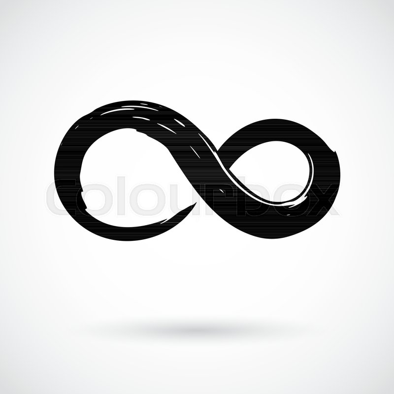 Infinity Symbol Hand Painted With Black Paint Grunge Brush Stroke