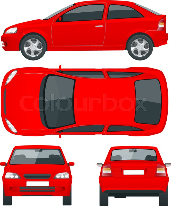Set of red Sedan Cars. Isolated car, template for car branding and ...