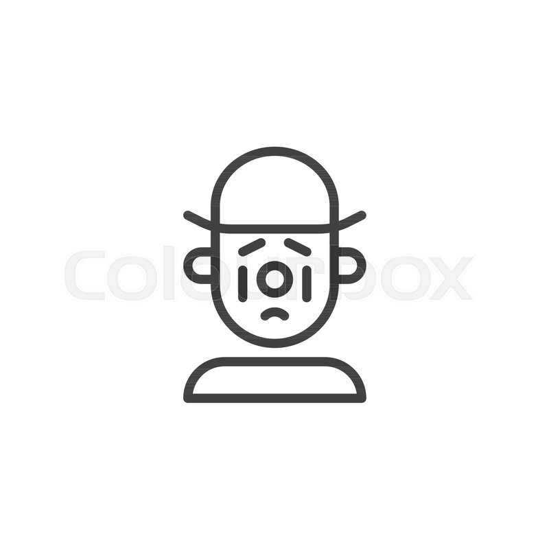 Sad Clown Line Icon Outline Vector Sign Linear Style Pictogram