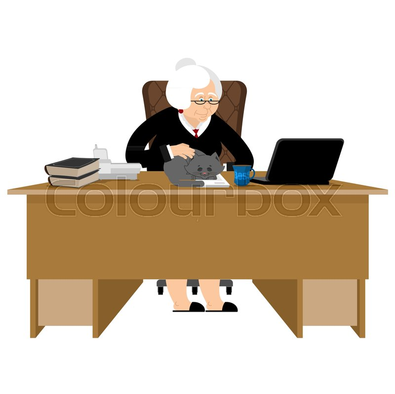 Old businesswoman. Business grandmother. Laptop and cat. Case and ...