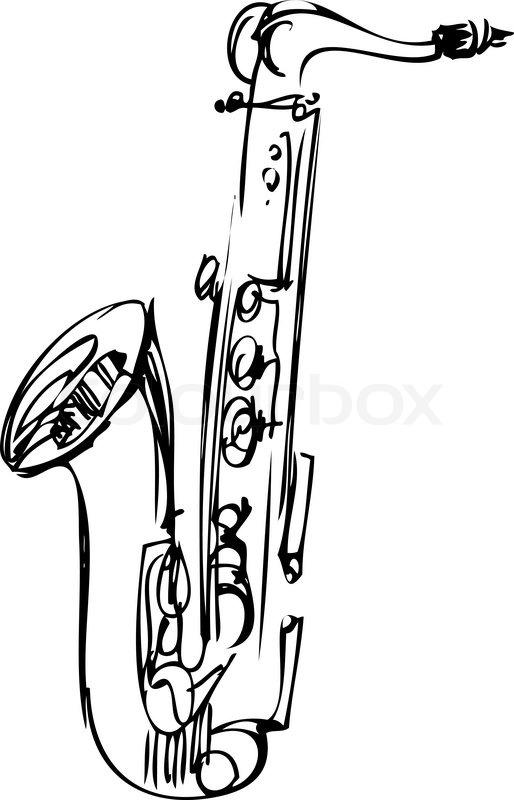 a sketch brass alto saxophone musical instrument stock vector colourbox