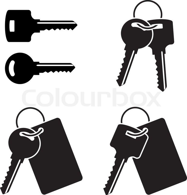 Vector Key Illustration: Set Of Keys. Stencil. First Variant. ...