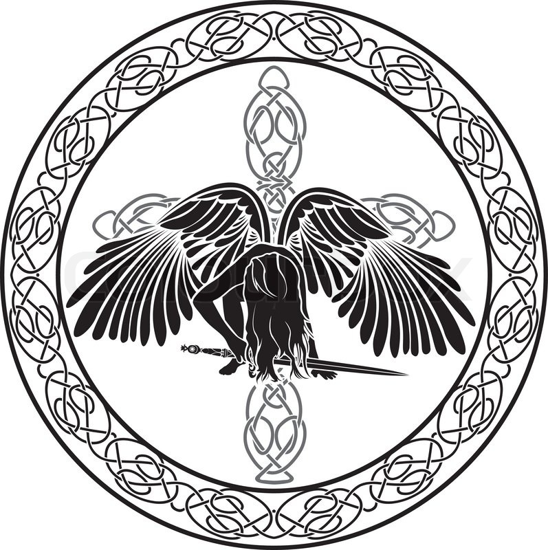 celtic engel in ornamentalen kreis mit kreuz vektorgrafik colourbox. Black Bedroom Furniture Sets. Home Design Ideas