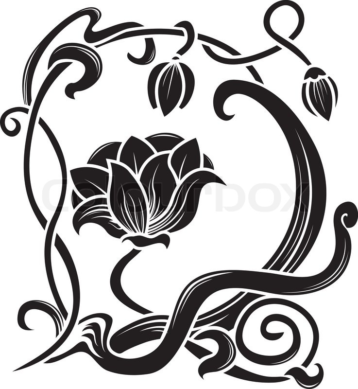 Stock vector of 'Flower stencil. decorative element in art nouveau style'